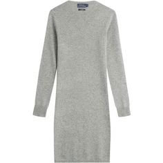Polo Ralph Lauren Cashmere Sweater Dress (415 CAD) ❤ liked on Polyvore featuring dresses, grey, longsleeve dress, long sleeve crew neck dress, gray long sleeve dress, grey long sleeve dress and form fitted dresses