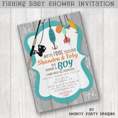 Fishing Baby Shower Invitations Invite We're by SmartyPartyDesigns