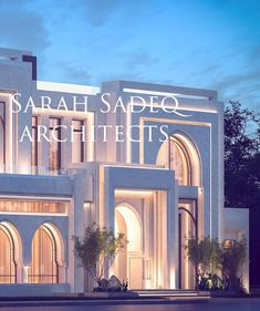 Image may contain: sky, cloud, tree, night and outdoor Modern Exterior House Designs, Classic House Exterior, Classic House Design, Modern Farmhouse Exterior, Modern House Design, Exterior Design, Morrocan Architecture, Modern Architecture House, Islamic Architecture