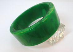 40s Green Swirl Genuine Bakelite Heavy Bangle Bracelet by LoukiesWorld on Etsy
