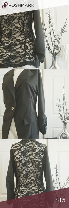 Sexy Black Lace Back Blazer Jacket Sexy Black Lace Back Blazer Jacket. One button closure. Ruched sleeve & faux pockets. Great for work or sass it up with some distressed denim shorts & heels, for a night on the town. Great condition. Jackets & Coats