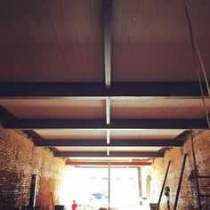 Steel beams in ceiling Steel Beams, Blinds, Ceiling, Curtains, Home Decor, Ceilings, Decoration Home, Room Decor, Shades Blinds