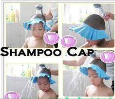 BOYS / GIRLS Shower Cap hat bathing soap shampoo PINK BLUE Bath Kids Babies