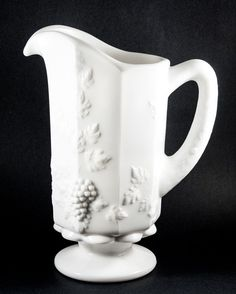 "Milk Glass Pitcher. Westmoreland ""Paneled Grape"" Pitcher. by AnneTweekes on Etsy"