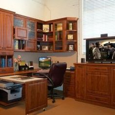 """great corner work area with pull-out desk and place to hide the printer. must make sure the pull-out cabinet is wide enough for printer. desk area to the right needs to be about 54"""" long and should probably be 19"""" deep"""