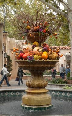 Tlaquepaque fountain all decked out for fall.  Sedona, AZ Sedona galleries, shops and fine restaurants. Tlaquepaque is itself a wondrous work of art, a fascinating combination of innovation and tradition.