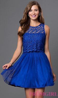 Open Back Sleeveless Lace Top Dress by Morgan at PromGirl.com