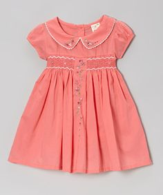 Coral Floral Vine Peter Pan Smocked Dress - Toddler & Girls