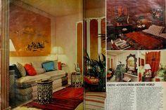 """1977 This is more what one thinks of as late 70s. """"Exotic accents,"""" like the Moroccan-inspired side tables and mirror featured in the above spread, add interest to rooms."""