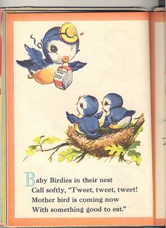 Vintage Bluebirds Book Illustration