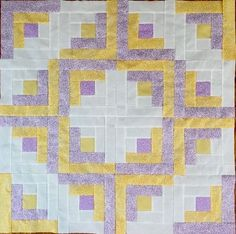 Small Quilt Top~ Already Stitched~ Log Cabin Lavender & Yellow~Baby,Lap, Decor