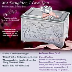 Gift Music Boxes for Daughters - My Daughter, I Love You Personalized Music Box