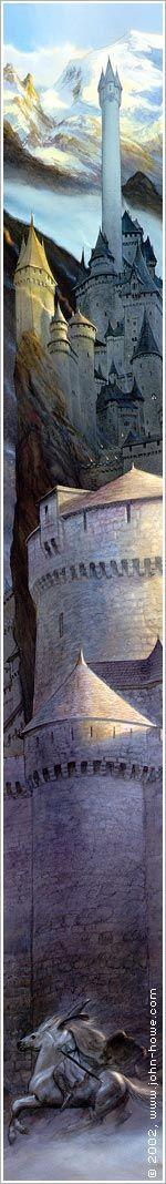 John Howe :: Illustrator Portfolio :: Home / From Hobbiton to Mordor / Gandalf Before the Walls of Minas Tirith High Fantasy, Fantasy World, Fantasy Art, Alan Lee, Tolkien Books, J. R. R. Tolkien, Gandalf, Legolas, John Howe