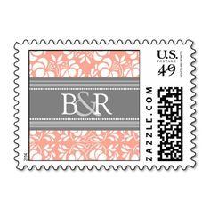 Coral Grey Damask Monogram Wedding Stamps