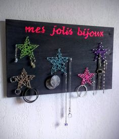 porte bijou mural tissage nail string art