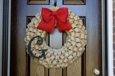 """Bubble Burlap Wreath with Monogram Initial AND Bow Choose Your Colors - 23"""" LARGE on Etsy, $65.00"""