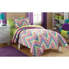 Mainstays 5PC Twin Microfiber Kids Chevron Bedding Comforter Set -- Read more  at the image link.