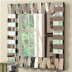 Accent+Mirrors+Contemporary+Square+Wall+Mirror+in+Silver+Finish