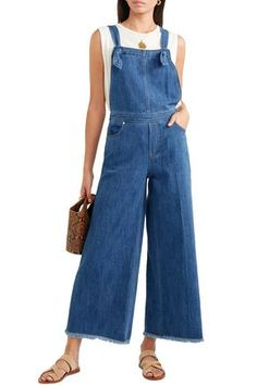 ELIZABETH AND JAMES ELIZABETH AND JAMES WOMAN JENNETTE KNOTTED DENIM OVERALLS MID DENIM. #elizabethandjames #cloth