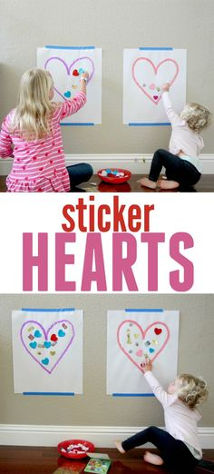 This easy activity will keep kids of all ages occupied. This activity is definitely Toddler Approved! February Toddler Crafts, Toddler Valentine Crafts, Toddler Arts And Crafts, Arts And Crafts For Teens, Valentine Theme, Valentines Day Activities, Craft Activities For Kids, Toddler Activities, Printable Valentine