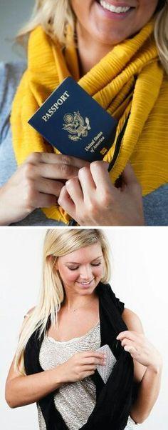 Lenços e cachecóis com bolsos internos.