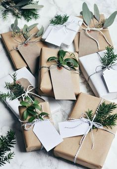 Simply wrapped with sprigs of pine