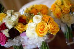 Punchy and bridesmaids bouquets with white, yellow, burgundy and fuchsia roses Flower Bouquet Wedding, Bridesmaid Bouquet, Bridesmaids, Fresh Flowers, Burgundy, Table Decorations, Bridal, Roses, Yellow