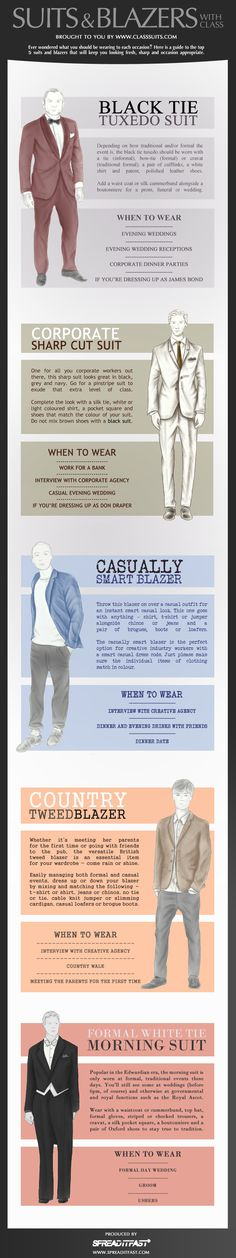 Suit and Blazers #classy #menstyle #infographic