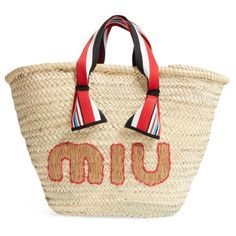 Women's Miu Miu Paglia Straw Top Handle Tote (3.060 BRL) ❤ liked on Polyvore featuring bags, handbags, tote bags, striped beach tote, straw tote bags, beach tote bags, stripe tote bag and woven tote bags