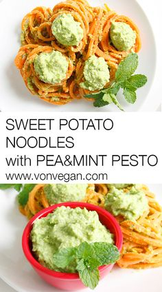 Sweet Potato Noodles with Vegan Pea and Mint Pesto. Recipe: http://www ...