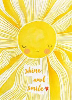 Shine and Smile als Premium Poster von treechild Little Girl Illustrations, Sunshine Pictures, Happy Day Quotes, Deco Kids, Happy Gif, Yellow Theme, Have A Happy Day, Sun Art, Miss You Mom