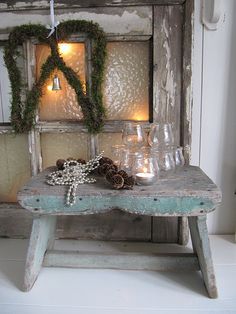 """Old Shabby Stool...Angel wings with a bell......""""whenever a bell rings, an angel gets her wings""""."""