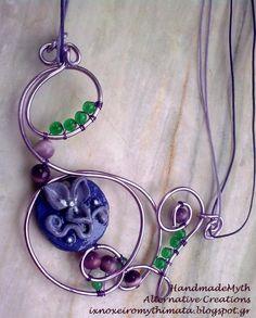 Νecklace with flower polymer clay and wire by Handmademyth on Etsy, €13.00