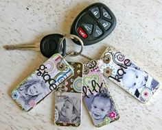 LOVE ♥ You can use old credit cards, cut to size. glue on scrapbook paper, pictures, stickers... add a layer of mod podge to seal. Love this!