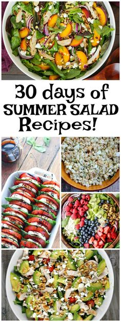 30 Days of Summer Salad Recipes: Peach Salad with Basil Chicken, Old Fashioned Macaroni Salad, Dilled Potato Salad, Kiwi Berry Salad, Summer Orzo Salad and much more!