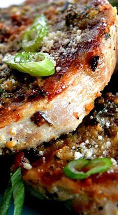 Garlicky Butter & Chive Parmesan Pork Chops
