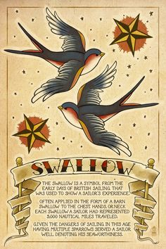 "Swallow Tattoo - each has a tag rom the beak that has an ""S"" and ""L"" for my goddaughters @Gayle Robertson Denney"