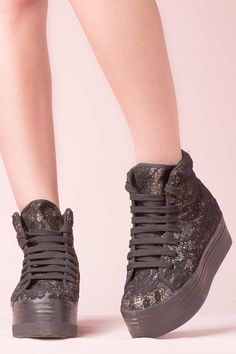 JEFFREY CAMPBELL SNEAKERS - HOMG LACE BLACK BLACK