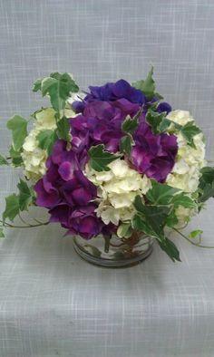 Romantic Purple White Centerpiece Hydrangea Summer Wedding Flowers Photos & Pictures - WeddingWire.com