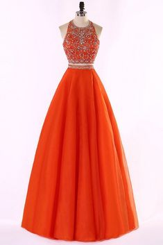 Orange tulle two pieces halter beading rhinestone A-line long prom dresses ,shining evening dresses, Shop plus-sized prom dresses for curvy figures and plus-size party dresses. Ball gowns for prom in plus sizes and short plus-sized prom dresses for Orange Prom Dresses, Gold Prom Dresses, Long Prom Gowns, Prom Dresses For Sale, Orange Dress, Ball Dresses, Ball Gowns, Evening Dresses, Party Dresses