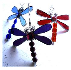 Dragonfly Stained Glass Suncatcher Bead-Tailed Colour Choice £10Joysofglassgift - The British Craft House Dragonfly Stained Glass, Craft House, Eye Make, Split Ring, Suncatchers, Home Crafts, Different Colors, Color Schemes, Glass Beads
