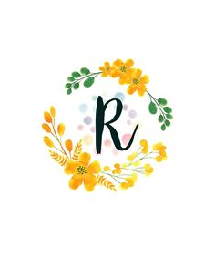 'Monogram R Happy Yellow Flowers' Sticker by floralmonogram – leo constellation tattoo Floral Letters, Monogram Letters, Monogram Design, Lettering Design, Wallpaper Backgrounds, Iphone Wallpaper, Mural Cafe, Monogram Wallpaper, Leo Constellation Tattoo