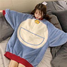 Cute Doraemon pajamas two-piece suit Satin Pyjama Set, Pajama Set, Kawaii Fashion, Cute Fashion, Mode Outfits, Fashion Outfits, Mode Kawaii, Cute Sleepwear, Pajama Outfits
