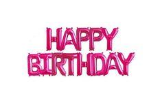 Ballons mylar lettres rose fuschia Happy birthday
