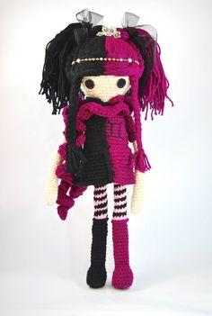 GEMINI Zodiac Crochet Art Doll OOAK by CreativeChaosMNL on Etsy; Goth doll/Emo doll handmade