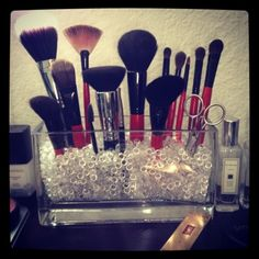Organizing makeup brushes. When I have the bathroom counter space...