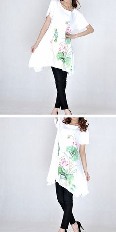 7080 hem Female hand painted lotus loose dress cotton by PlusDress