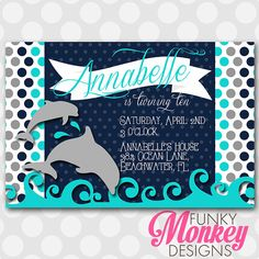 Diy Personalized Blue Dolphin Under The by FMDFunkyMonkeyDesign, $8.00