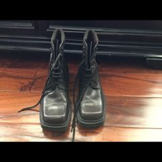 """Nine West/Cloud 9 Boots Cloud 9 by Nine West  """"N- CIERRAH"""" dark chocolate brown boots. Lace up with Leather and fabric. Size 9. No box. Nine West Shoes Lace Up Boots"""