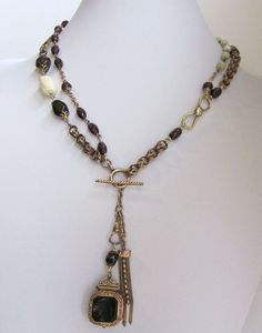 Repurposed Jewelry Antique Watch Fob Necklace by jryendesigns, $149.00